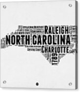North Carolina Word Cloud Map 2 Acrylic Print