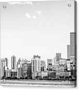 North Chicago Skyline Panorama In Black And White Acrylic Print