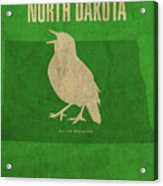 North Dakota State Facts Minimalist Movie Poster Art Acrylic Print
