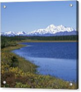 North Face Of Mount Mckinley, Lake Acrylic Print
