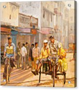 North India Street Scene Acrylic Print