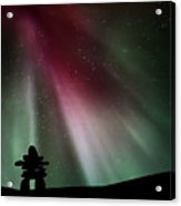 Northern Lights Above An Inukchuk In Saskatchewan Acrylic Print