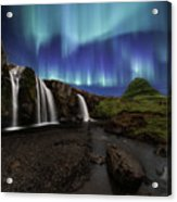 Northern Lights At Kirkjufellsfoss Waterfalls Iceland Acrylic Print