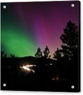 Northern Lights Over Storm Mountain Acrylic Print