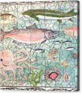 Northwest Fish Mural Acrylic Print by Dy Witt
