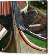 Norway, Reine, Boat In Fishing Village Acrylic Print