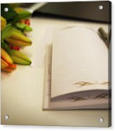 Notebook And Pen Acrylic Print