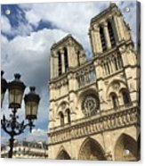 Notre Dame And Lamppost Acrylic Print