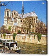 Notre Dame And The Seine Painterly Acrylic Print