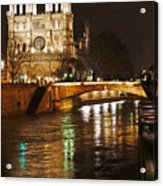 Notre Dame Bridge Paris France Acrylic Print
