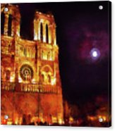 Notre Dame In The Autumn Moonlight Acrylic Print