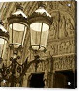 Notre Dame Street Lights Paris France Sepia Acrylic Print