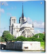 Notre Dame Over Water Acrylic Print