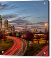 November Sun Setting Over Charlotte North Carolina Skyline Acrylic Print