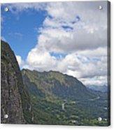 Nu Uanu Pali Valley Overlook On Oahu Island Hawaii  Acrylic Print