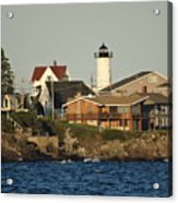 Nubble Light House Beach View Acrylic Print
