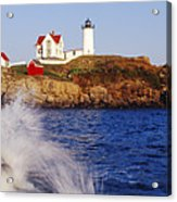 Nubble Lighthouse In Daylight Acrylic Print by Jeremy Woodhouse