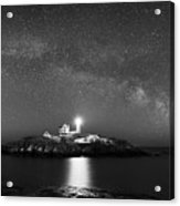 Nubble Lighthouse Milky Way Pano Bw Acrylic Print