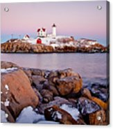 Nubble Winter Dusk Acrylic Print by Susan Cole Kelly