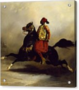 Nubian Horseman At The Gallop Acrylic Print by Alfred Dedreux or de Dreux