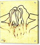 Nude Female Hands In Hair Acrylic Print
