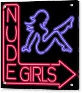 Nude Girls Neon Sign Acrylic Print