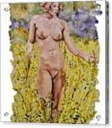 Nude In Field Acrylic Print