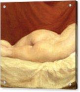 Nude Lying On A Sofa Against A Red Curtain Acrylic Print