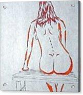 Nude On Bench Acrylic Print