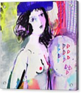 Nude With Flower Hat Acrylic Print