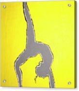 Nude Yoga Girl Gray Acrylic Print