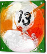 Number Thirteen Billiards Ball Abstract Acrylic Print by David G Paul