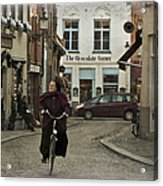 Nun On A Bicycle In Bruges Acrylic Print