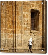 Nun Walking In Front Of Cathedral Acrylic Print