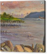 Ny Skyline And Gwb From Hastings On Hudson Acrylic Print