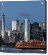Nyc And Staten Island Ferry Acrylic Print