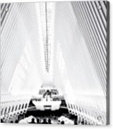 Nyc- Inside The Oculus In Black And White Acrylic Print