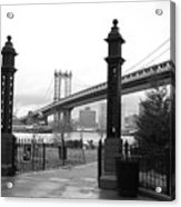 Nyc Manhattan Bridge Bw Acrylic Print