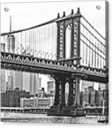 Nyc Manhattan Bridge In Black And White Acrylic Print
