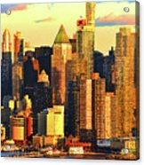 Nyc West Side In Gold And Blue  Acrylic Print