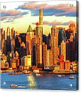 Nyc West Side Skyscrapers At Sundown Acrylic Print