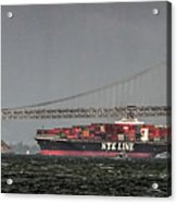 Nyl Line Container Ship By Bay Bridge In San Francisco, California Acrylic Print