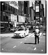 nypd traffic cop on Times Square New York City USA Acrylic Print