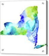 New York State In Blue And Green Acrylic Print