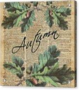 Oak Tree Leaves And Acorns, Autumn Dictionary Art Acrylic Print