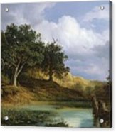 Oaks Beside The Water 1832 By Christian E. B. Morgenstern Acrylic Print