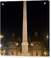 Obelisco Flaminio And Twin Churches By Night Acrylic Print