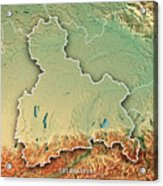 Oberbayern Regierungsbezirk Bayern 3d Render Topographic Map Bor Acrylic Print