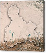 Oberbayern Regierungsbezirk Bayern 3d Render Topographic Map Neu Acrylic Print