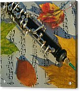 Oboe And Sheet Music On Autumn Afternoon Acrylic Print